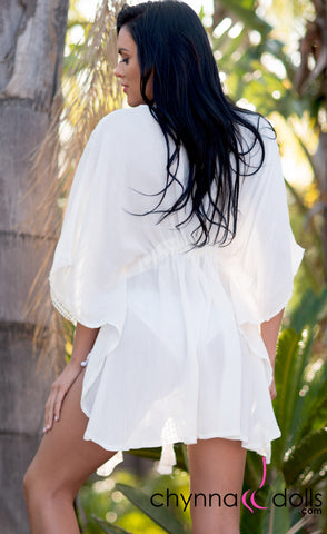 Evelyn:  Kimono Linen Cover Up in Ivory