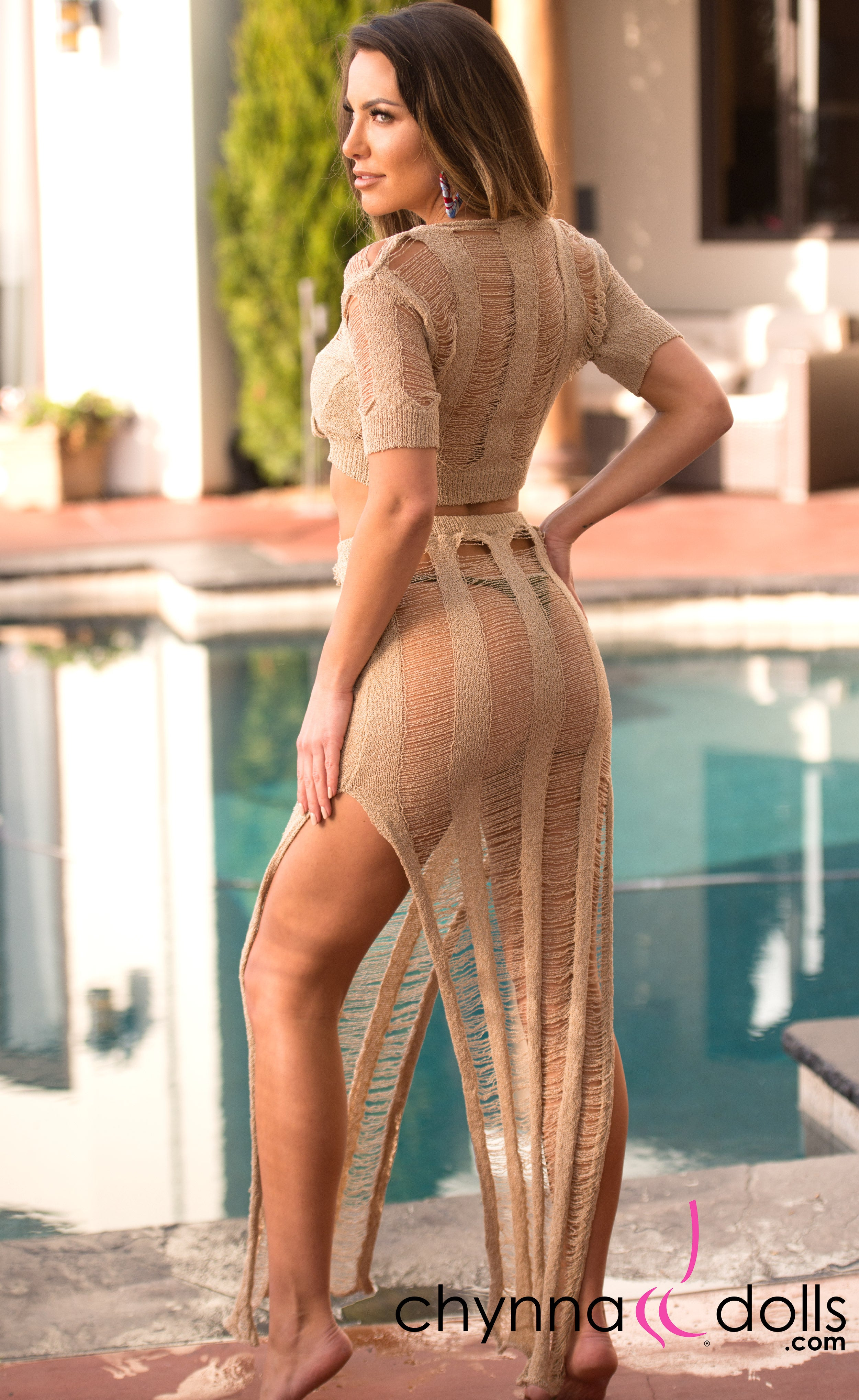 Rosalie: Crochet Tie Top Skirt Set in Tan - Chynna Dolls Swimwear