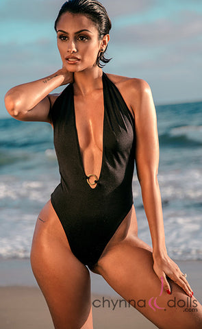 Denise: Halter Deep Plunge One Piece w/Gold Ring Detail in Solid Black