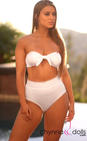 Malibu: High Waisted Short Bathing Suit in Solid White - Chynna Dolls Swimwear