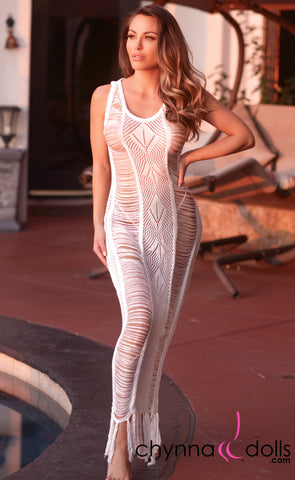 Serenity: Crochet Maxi Dress Cover-up in Off White