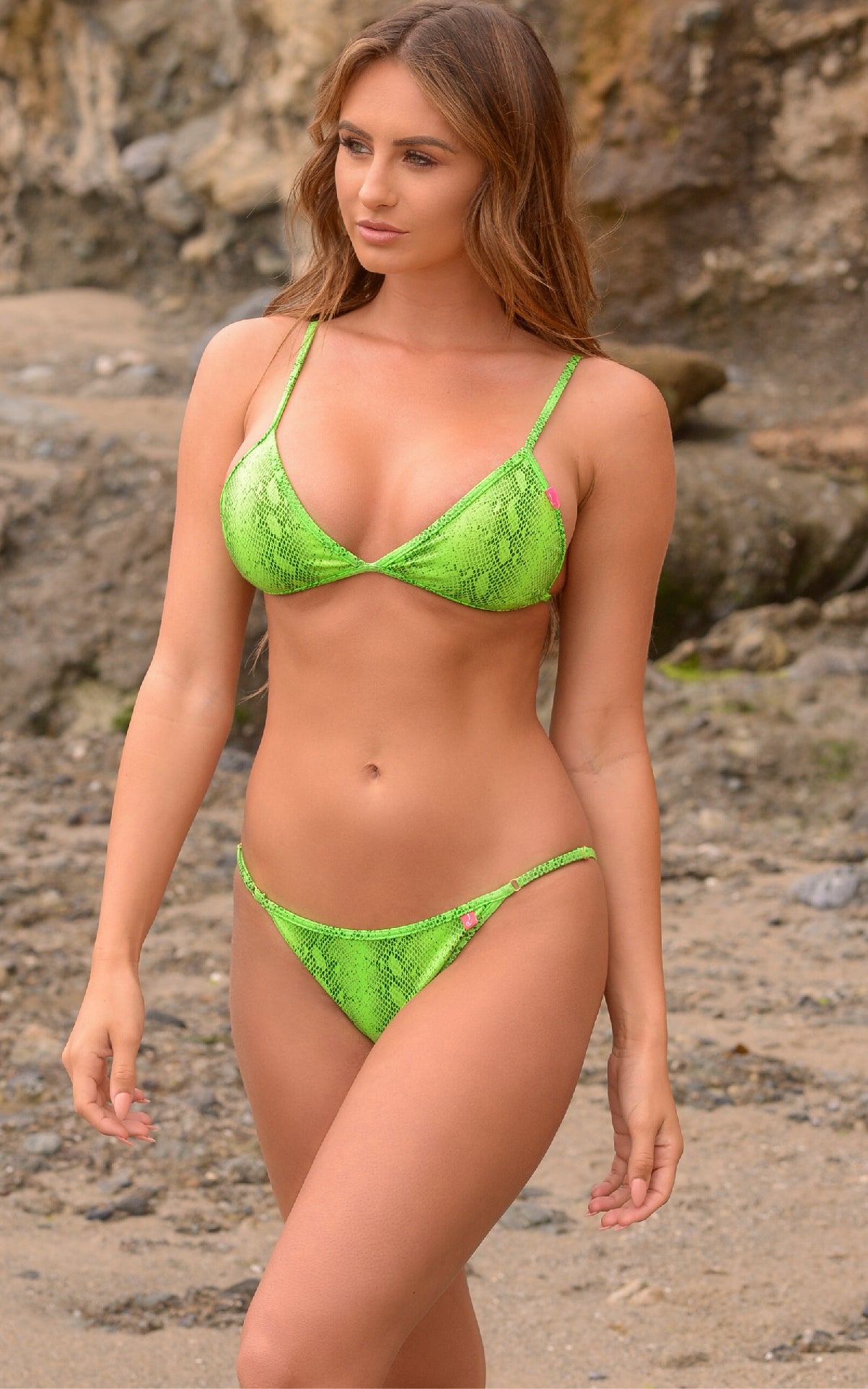 Laguna: String Bathing Suit in Green Venom