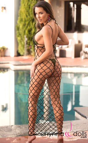 Giselle: Beaded Crochet Net Dress in Black - Chynna Dolls Swimwear