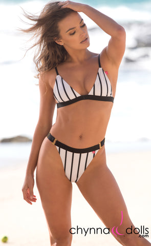 Marseille: Adjustable High Cut Bikini in White and Black Stripes