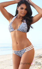 Bahia: Reversible Triple Bitty Bikini in White/White Snakeskin Print