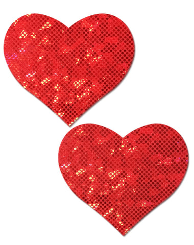 Pastease: Shattered Glass Disco Ball Red Heart Pasties - Chynna Dolls Swimwear
