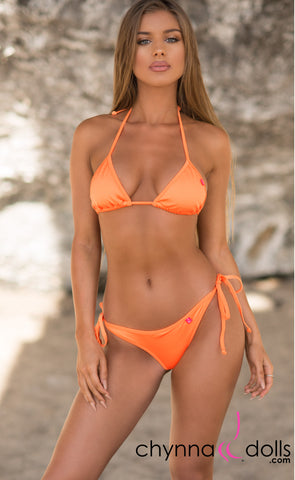 Laguna: String Bikini in Solid Neon Orange