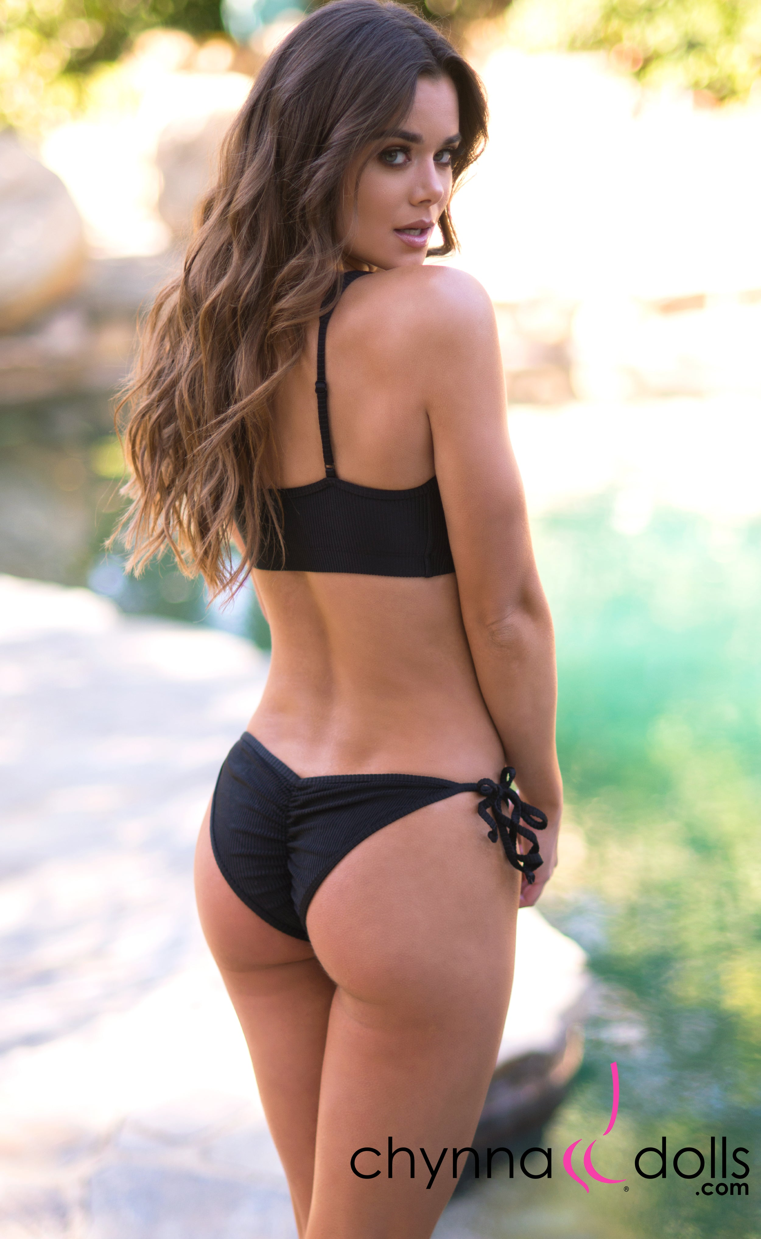 Lyon: Sporty Top Trendy Swimsuit w/ 2 Bottom option in Black Rib