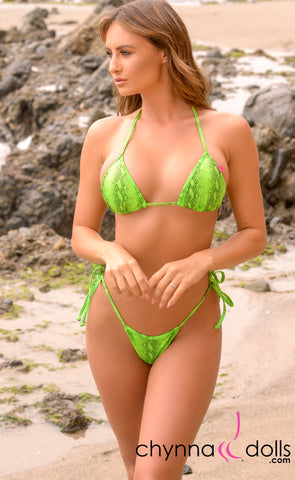 Rio: T-Back Thong Swimsuit in Green Venom - Chynna Dolls Swimwear