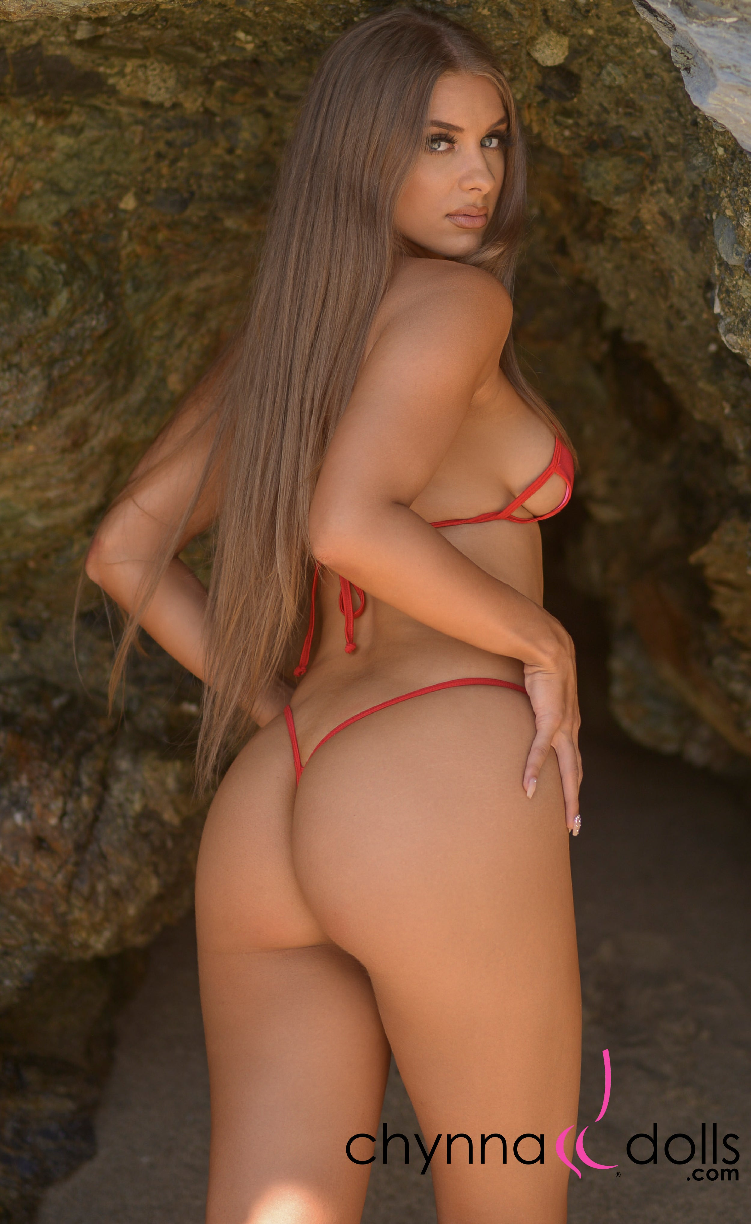 Coco: Y-Back G-String Thong Bikini in Solid Red