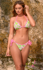 Laguna: String Bathing Suit in Green Daisy with Bubblegum Pink Trim