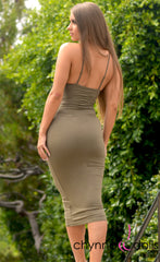 Trinity: Ruched Cutout Cami Bodycon Dress in Olive - Chynna Dolls