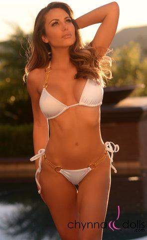 Bordeaux: Sexy Swimsuit with Multiple Chain Accent in White - Chynna Dolls Swimwear