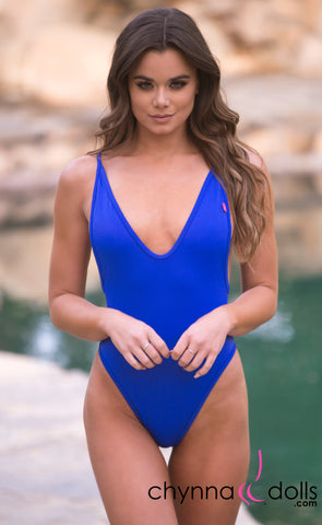 St. Martin: High Cut Swimsuit Monokini w/ Plunging Neckline in Royal Blue