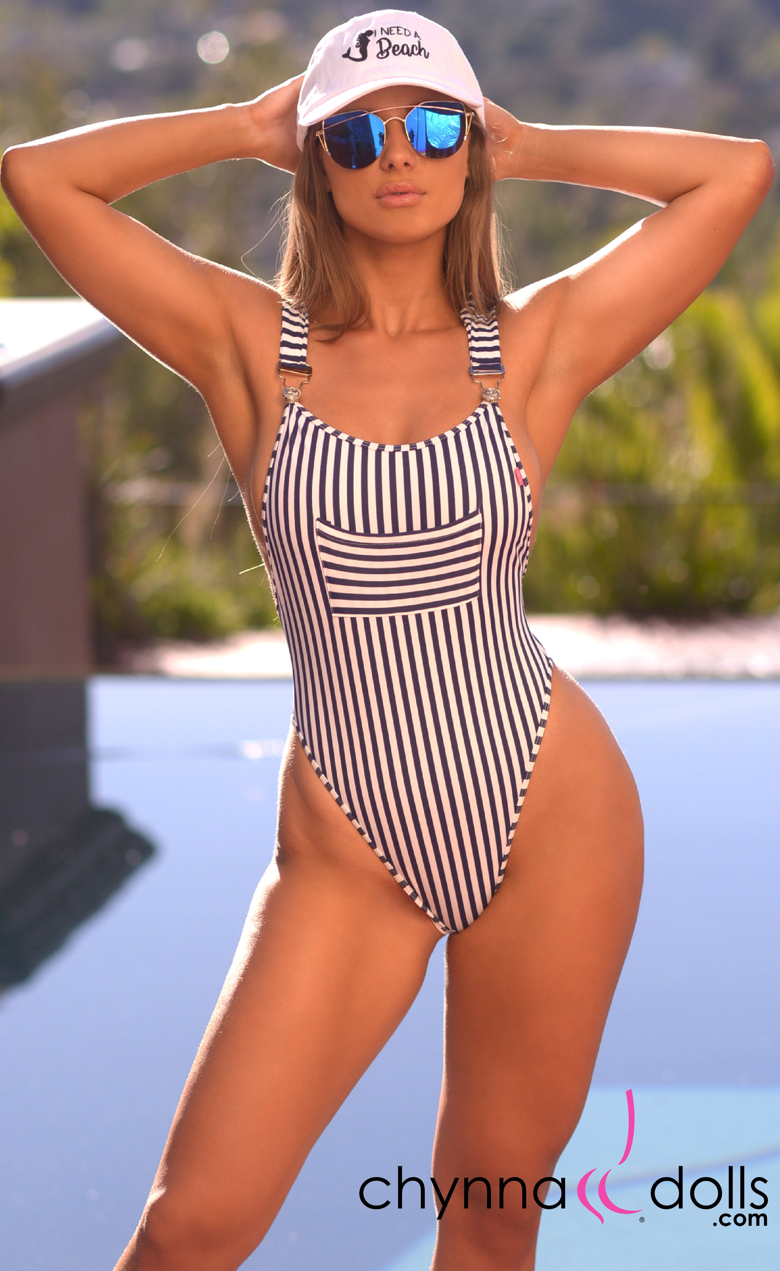 Dijon: Overall Monokini in Navy/White Stripes - Chynna Dolls Swimwear