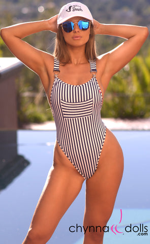 Dijon: Overall Monokini in Navy/White Stripes