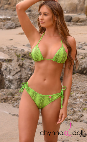 Hermosa: Double String Bathing Suit in Green Venom - Chynna Dolls Swimwear