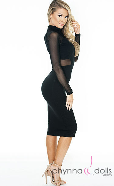 Olivia: Bodycon Midi with Mesh Detailing - Chynna Dolls Swimwear