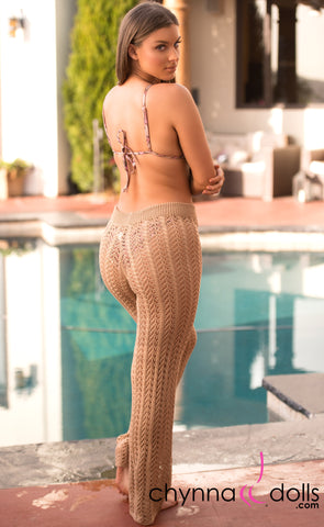 Demi: Crochet High Waisted Pants in Tan - Chynna Dolls