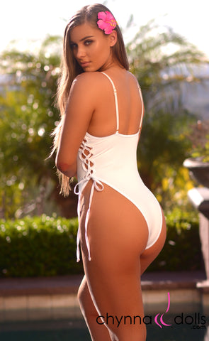 Key Biscayne: High Cut Lace Up One Piece in White