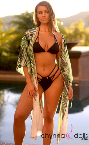 Kourtney: Palm Leaf Kimono - Chynna Dolls Swimwear
