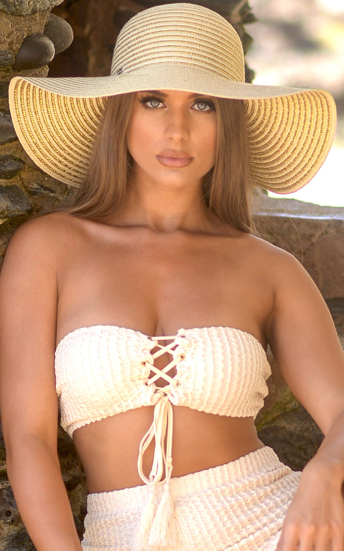 Hat: Beige Floppy Hat with Gold Stripes - Chynna Dolls Swimwear
