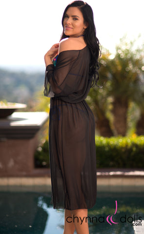 Gabby: Mesh Kimono Cover Up with Elastic Waist in Black - Chynna Dolls Swimwear