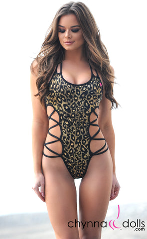 Vegas: Lace up One Piece in Leopard Hologram Print