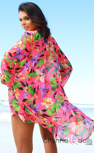Neon Pink Long Sleeved Floral Cover Up
