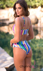 Lyon: Sporty Top Trendy Swimsuit w/ 2 Bottom option in Candy Stripes