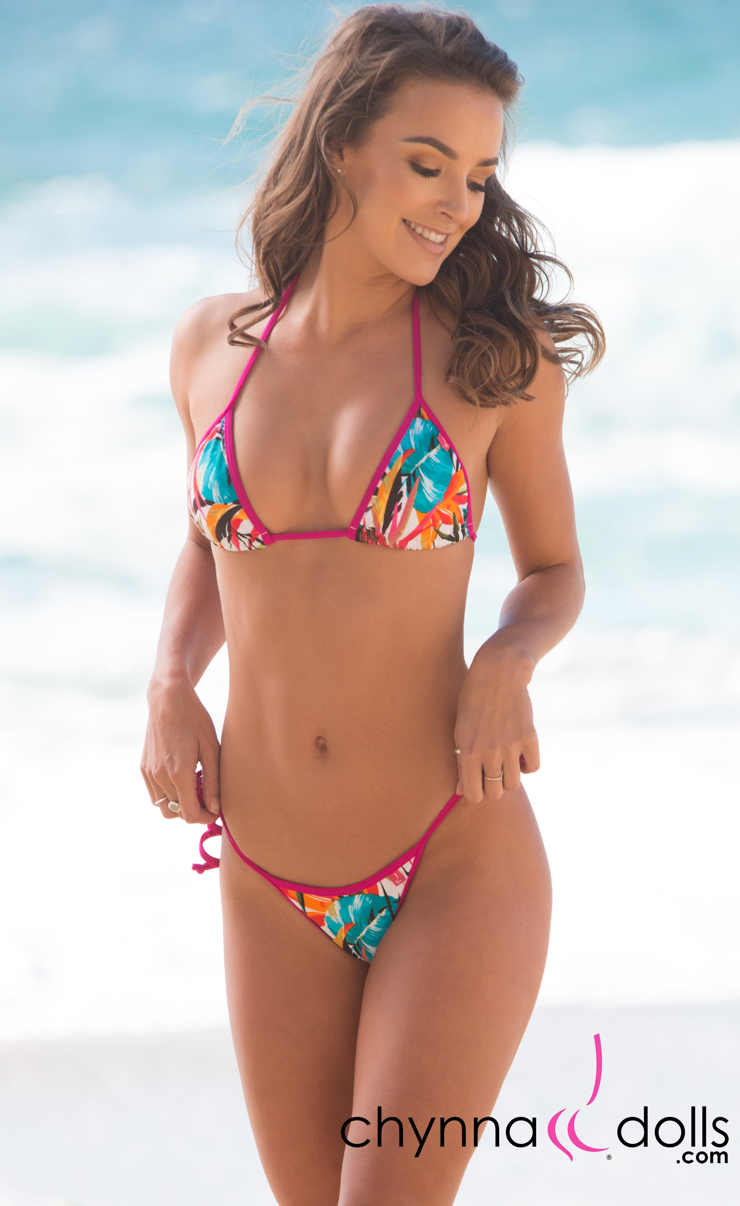 Venice: Micro Bikini in Fuchsia Birds of Paradise