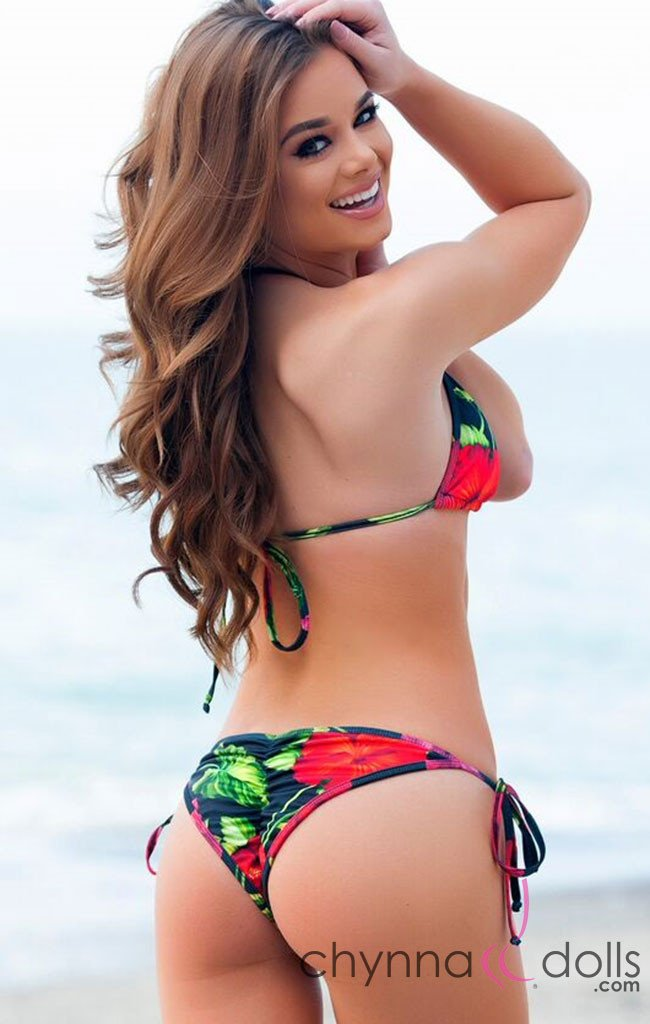 Laguna: String Bikini in Red Hibiscus Print - Chynna Dolls Swimwear