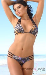 Bahia: Reversible Triple Bitty Bikini in Black/Purple-Yellow Leopard - Chynna Dolls Swimwear