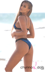 Marseille: Adjustable High Cut Bikini in Blue Crushed Velvet
