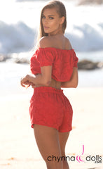 Gwen: Eyelet Crop Top Short Set in Red - Chynna Dolls Swimwear