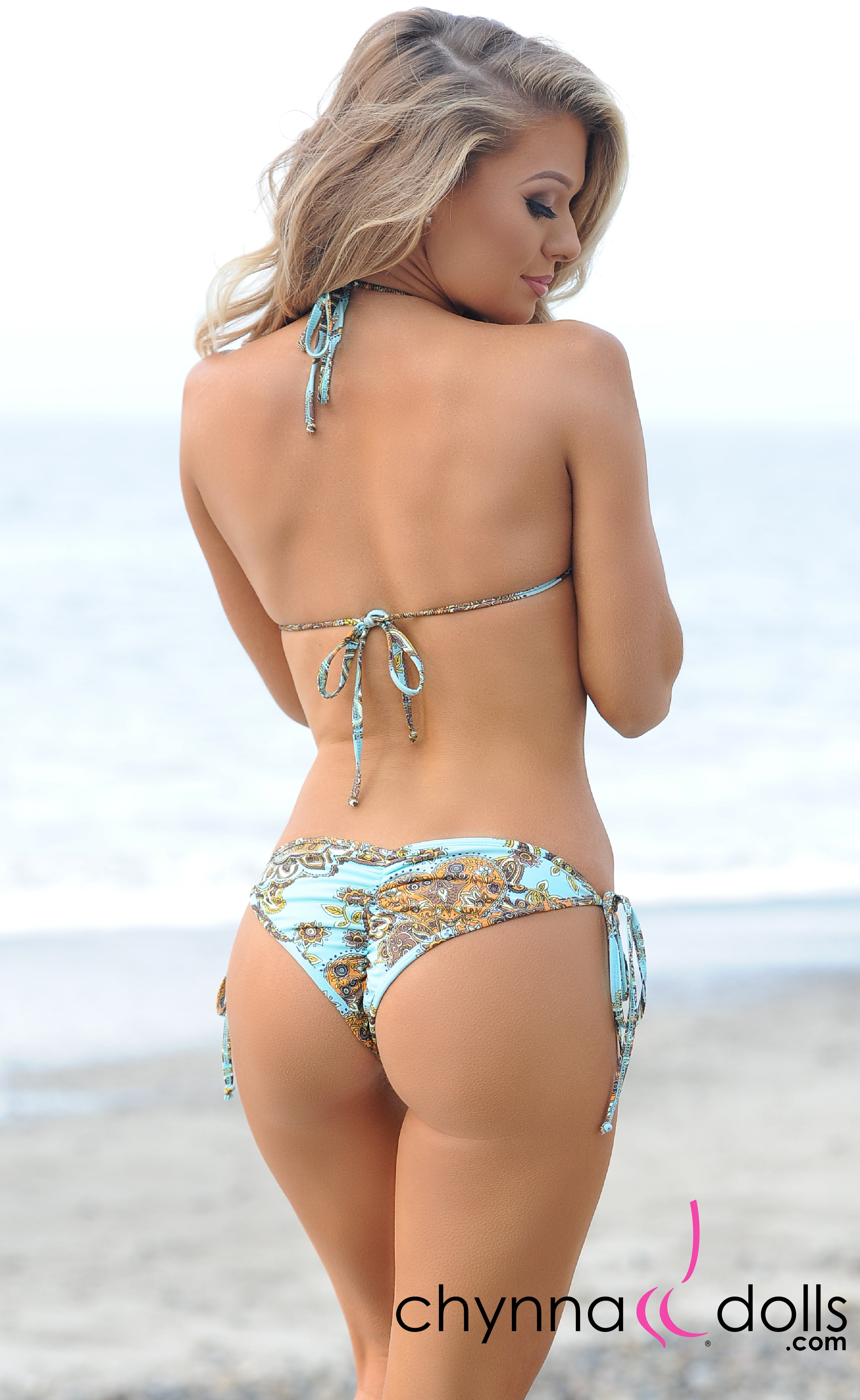 Laguna: String Swimsuit in Mint Paisley Print - Chynna Dolls Swimwear