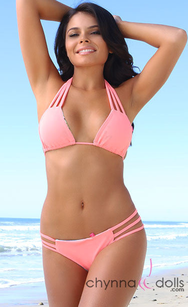 Bahia: Reversible Triple Strap Bitty Bikini in Salmon/Smoke - Chynna Dolls Swimwear