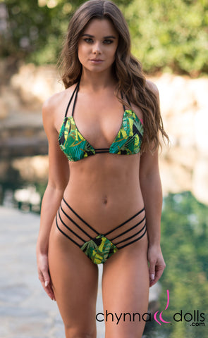 Ibiza: Reversible 4 Strap Diamond Bitty Bikini in Black/Jungle Print - Chynna Dolls Swimwear