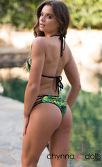Ibiza: Reversible 4 Strap Diamond Bitty Bikini in Black/Jungle Print
