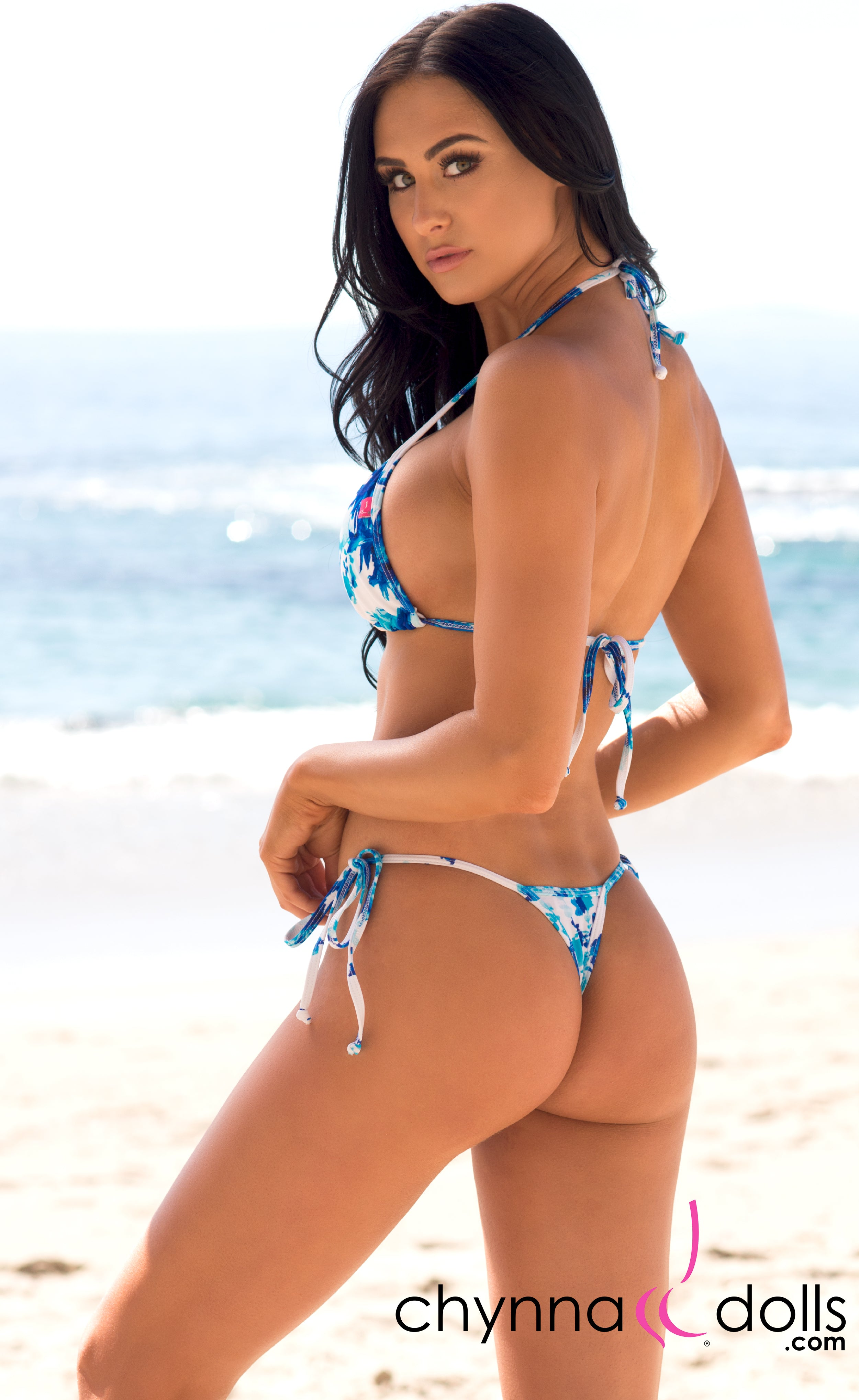 Rio: T-Back Thong Bikini in Blue Flowers on White - Chynna Dolls Swimwear