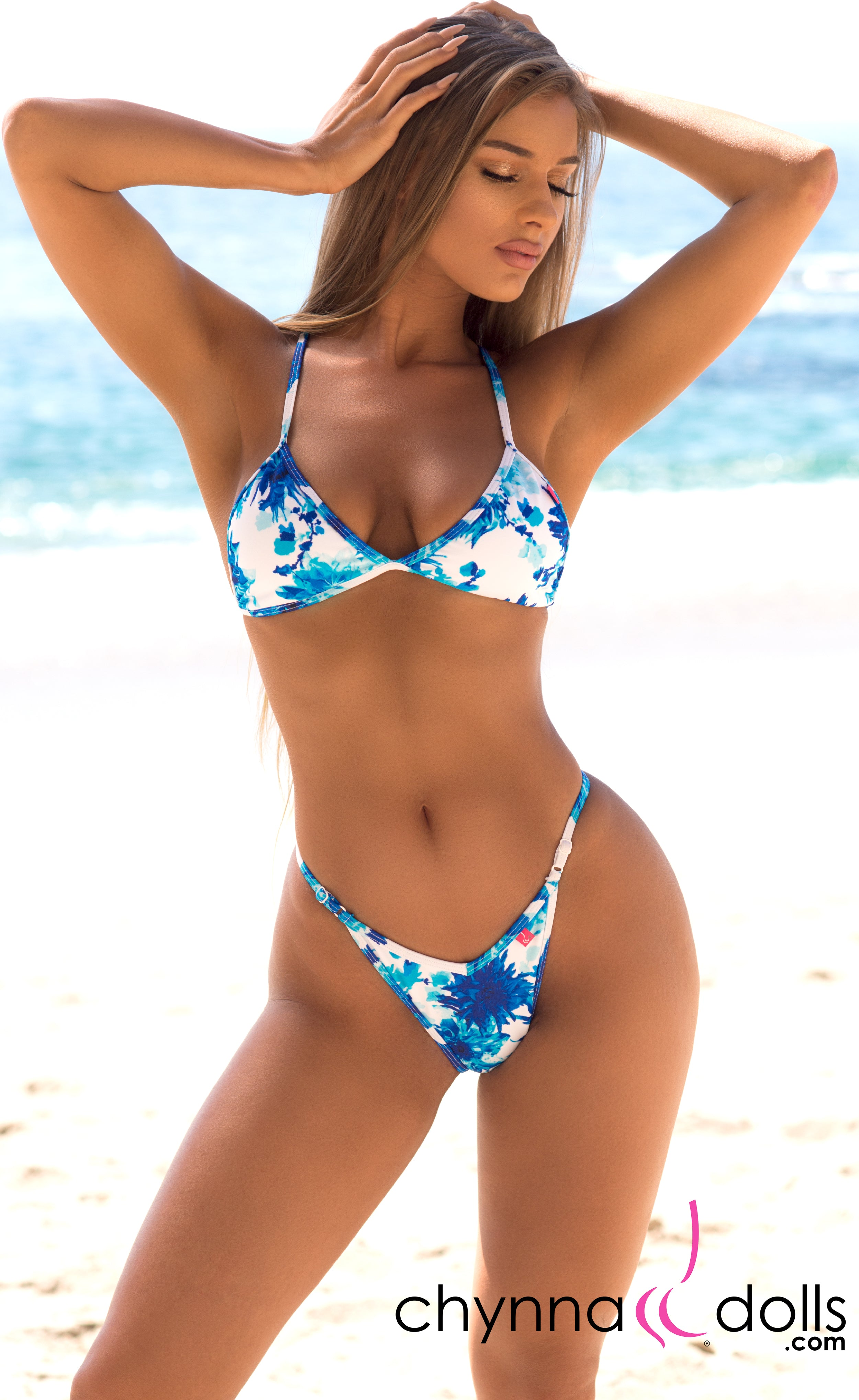 Sorrento: High Cut Bathing Suit in Blue Flowers on White