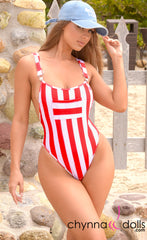 Dijon: Overall Monokini in Red/White Stripes - Chynna Dolls Swimwear