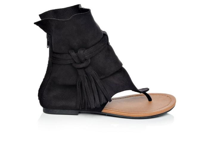 Hiccup: Ankle Height Sandal with tassel in Black - Chynna Dolls