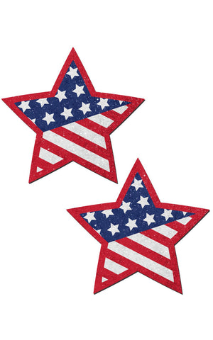 Pastease: Glittering Patriotic USA Red, White & Blue, Stars & Stripes Star Pasties - Chynna Dolls