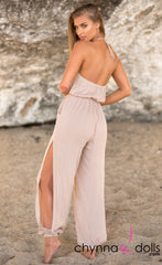 Jumper: Linen Jumpsuit with side slit - Chynna Dolls Swimwear
