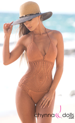 Cancun: One Piece Crochet Swimsuit in Tan