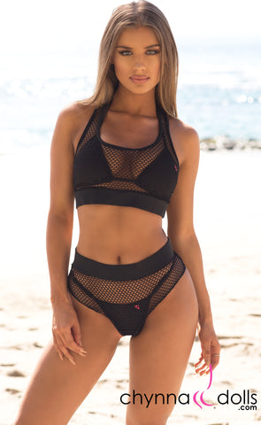 Nola: Two Piece Fishnet Bikini Cover up in Black