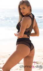 Nola: Two Piece Fishnet Bikini Cover up in Black - Chynna Dolls Swimwear