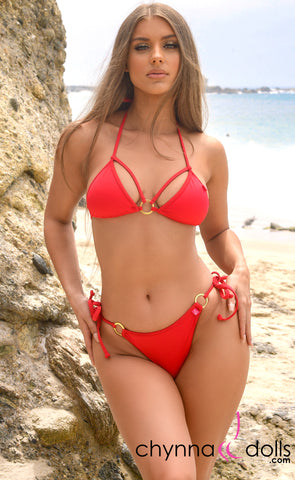 Aruba: String Bathing Suit in Solid Red - Chynna Dolls