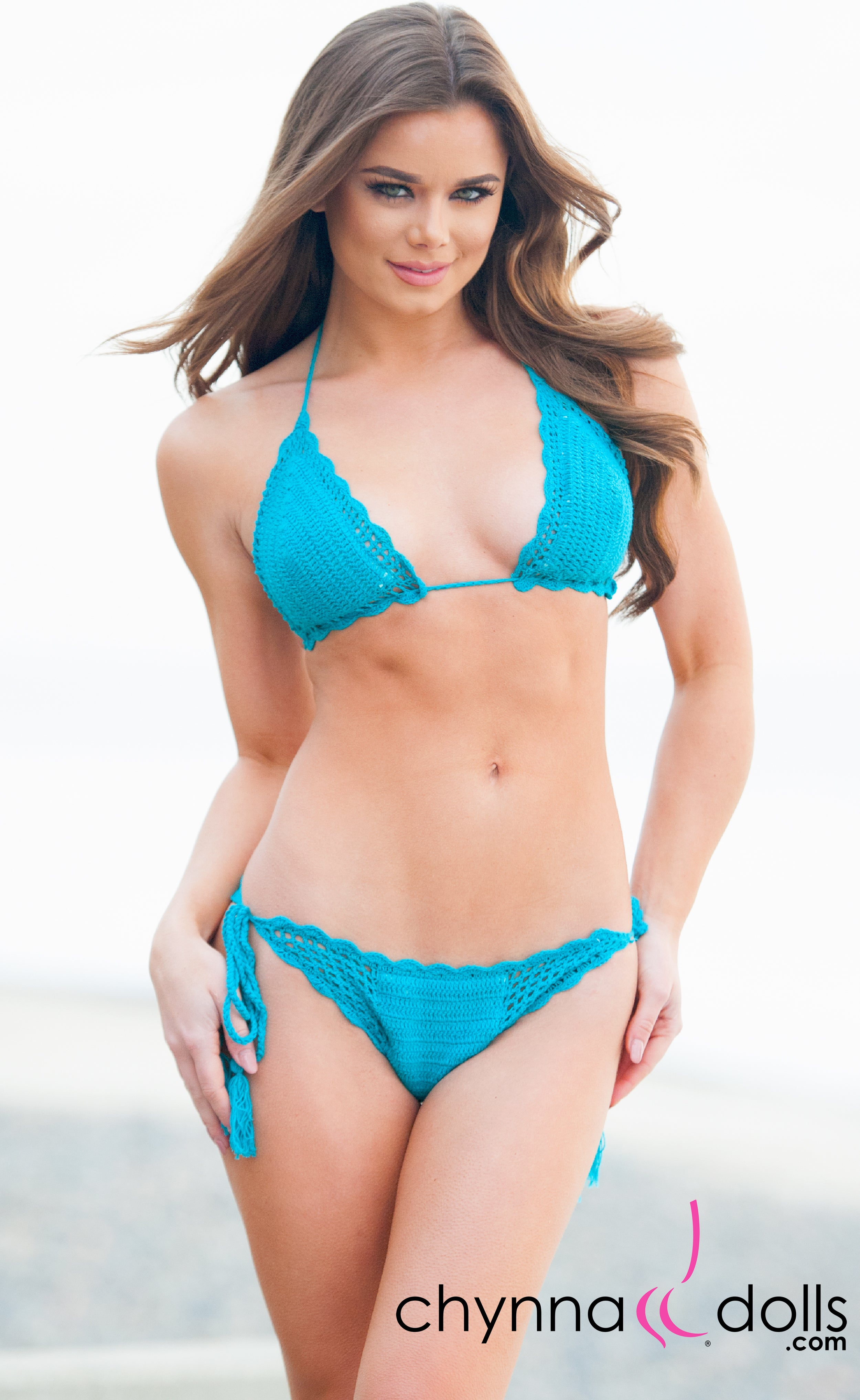 South Beach: Crochet 2 PC Swimsuit in Teal